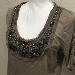 Anthropologie deletta brown top large